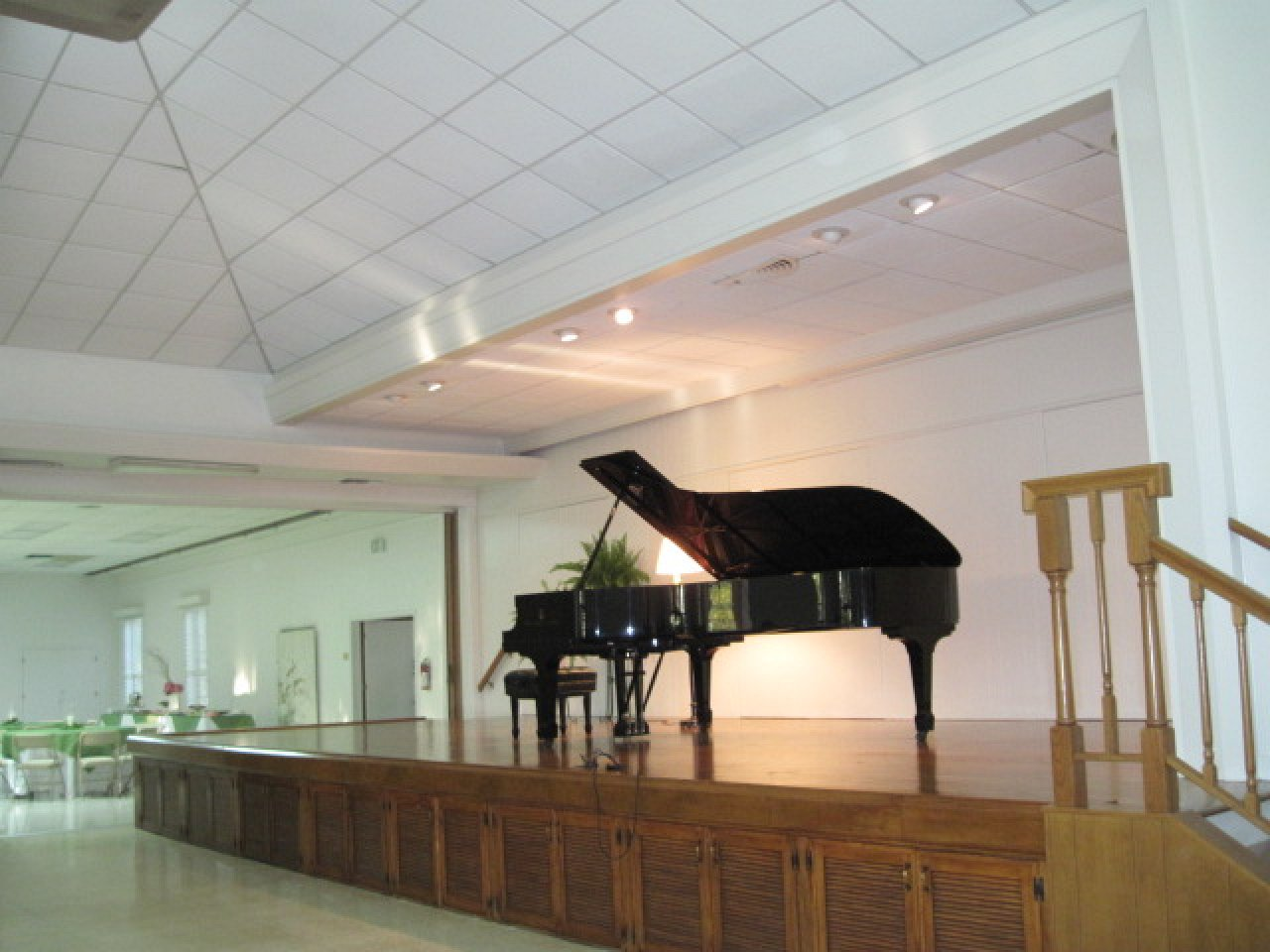 Large, elevated stage—also perfect for concerts and recitals